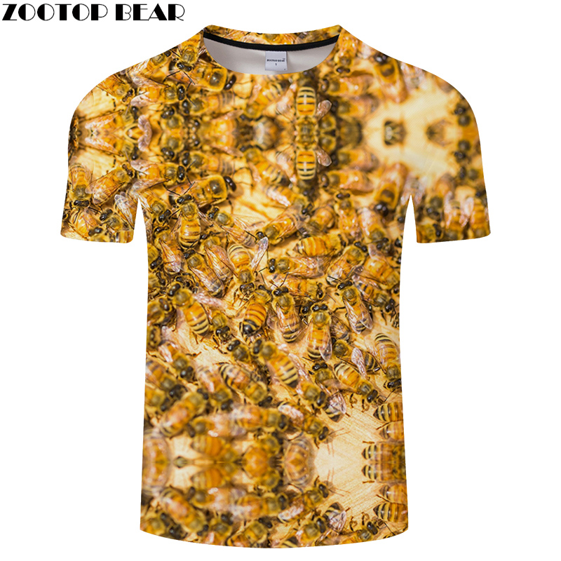 Bee Print tshirts 3D Animal T shirt Men Women t shirt Streatwear Tee Harajuku Tops Anime Camiseta Short Sleeve O-neck Tshirt Hot