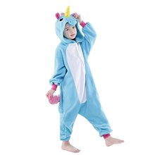 Fashion Lounge Unisex Children Kids Animal Unicorn Cosplay Costume Cartoon Unicorn Pegasus Pajamas Lively One-piece Sleepwear