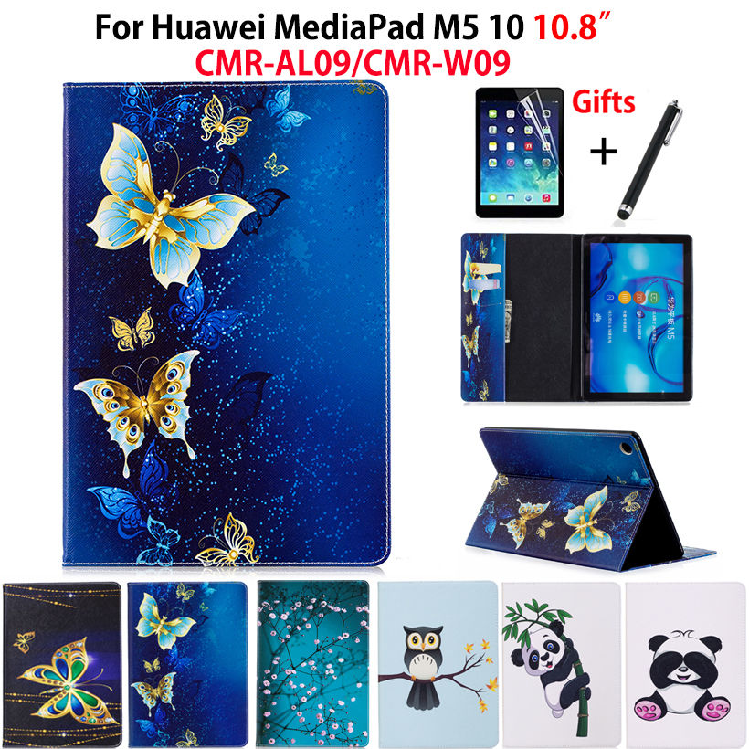 Case For Huawei MediaPad M5 10 10.8 CMR-AL09 CMR-W09 Smart Cover Funda Tablet Fashion Panda Owl Pattern Stand Shell+Film+Stylus case for huawei mediapad m5 8 4 cmr al09 cmr w09 tablet cover newest shockproof soft tpu protective back case shell touch pen