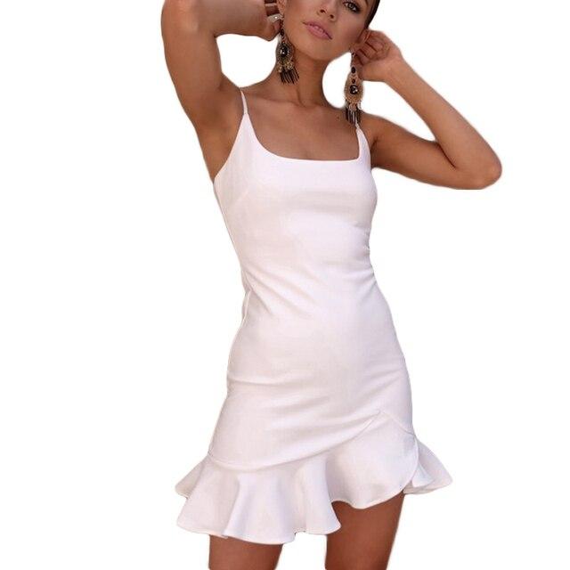 f71fcd8fedf Summer Ruffles bodycon Dress 2018 Women White Strappy beach Dress Sexy Mini  Vestdios Ladies Clothes