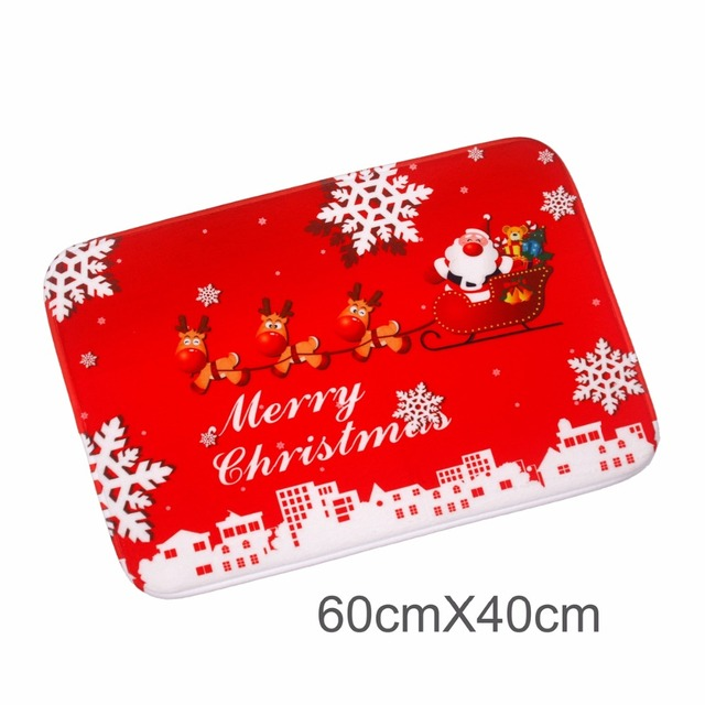 FENGRISE Merry Christmas Door Mat Santa Claus Flannel Outdoor Carpet Christmas Decorations For Home Xmas Party Favors New Year 2