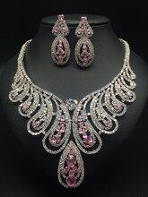 2017 NEW fashion Noble luxury Dubai princess pink zircon necklace set, wedding bride dresses dinner banquet jewelry,free ship