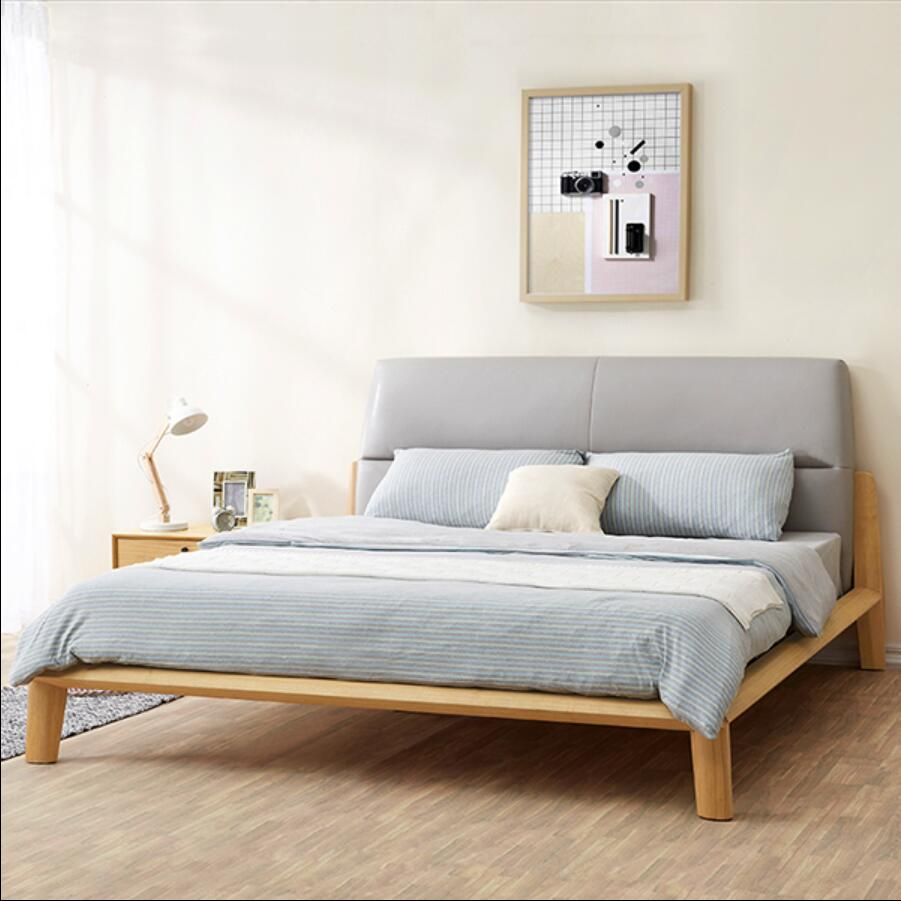 Korean designer wood leather bed 1.5 m by 1.8 m soft leather bed ...