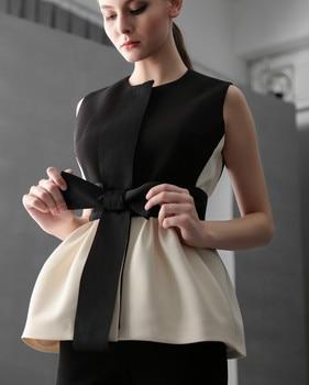 Summer Women Sleeveless Peplum Tops Lady Vintage Sleeveless Blouses Women Bow Knot Peplum Tops Ruffles Top фото