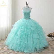 Bealegantom 2018 New Real Photo Mint Quinceanera Kleider Ballkleid Perlen Sweet 16 Kleid für 15 Jahre Vestidos De 15 Anos QA1302