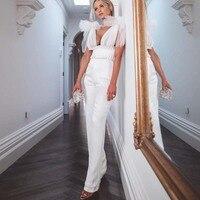ERDAOBEN jumpsuit romper Black white sleeve women bodysuits solid overalls for women H5716