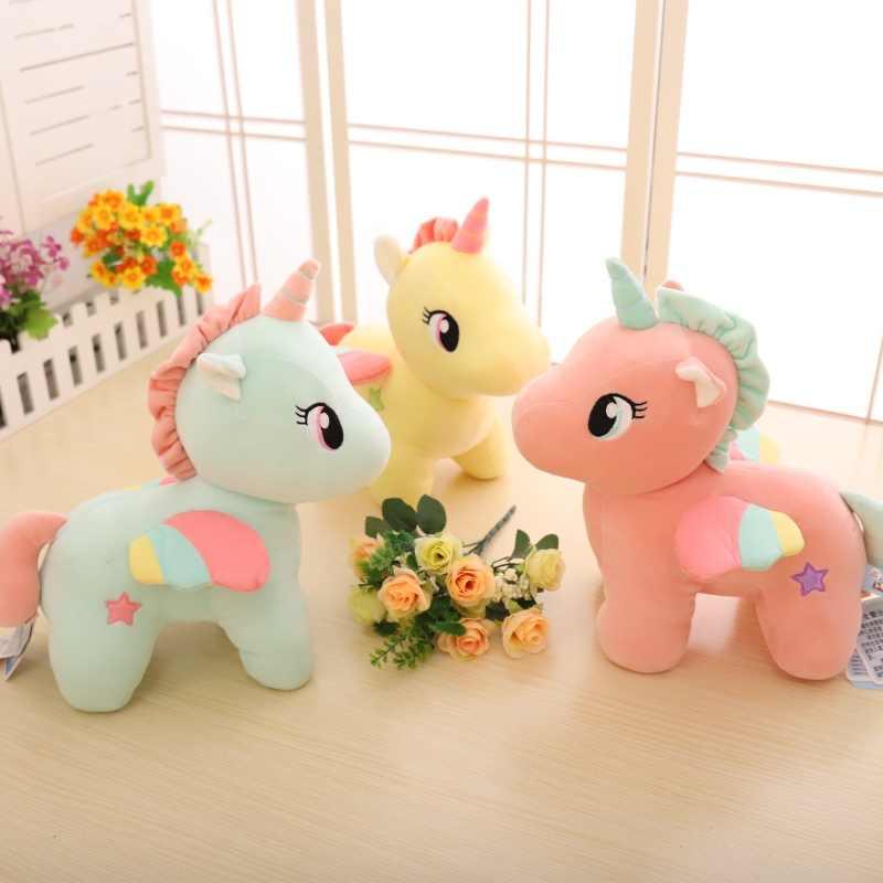 Bonito New Colorido Unicórnio Kawaii Stuffed Animal Boneca de Brinquedo de Pelúcia Macia Cavalo Voador Presente de Natal de Aniversário para Crianças Decoração Da Sua Casa