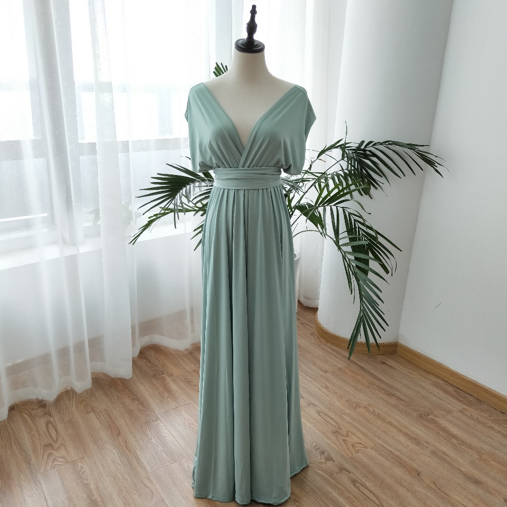 Light Blue Bridesmaid Dresses Wedding Guest Dresses vestido festa Long Dresses Variety Dress With Stretch DQG456