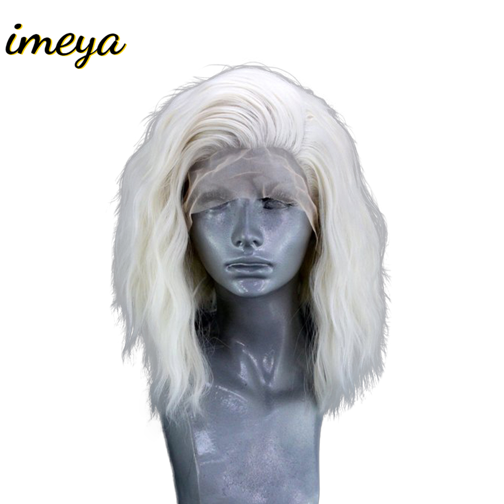 Imeya Short Wavy Bob #60 Color Lace Front Wigs Synthetic Hair With Side Part High Temperature Heat Resisrant Fiber Wigs