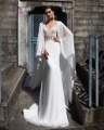 Dreagel New Arrival Boat Neck Watteau Train Princess Wedding Dress 2017 Appliques Beaded Chifffon Bridal Dress Vestidos de Noiva