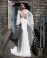 Dreagel New Arrival Boat Neck Watteau Train Princess Wedding Dress 2017 Appliques Beaded Chifffon Bridal Dress Vestidos de Noiva