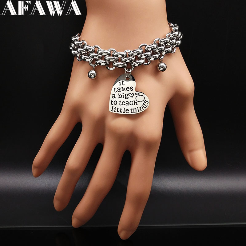 2018 it take a big to teach little minds Stainless Steel Bracelet for Teacher Gift Jewelry Gift pulseras para las mujeres B17986 ...