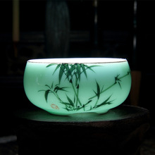Chinese Longquan Celadon Porcelain China Teacups Golden Fish 60ml Kung Fu Tea Pot Crackle Cups Gifts
