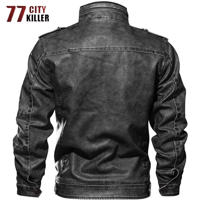 77 город убийца плюс Размеры 6XL 7XL мужские кожаные куртки осень зимнее, зауженное из искусственной кожи Мото-куртки мужской jaqueta de couro