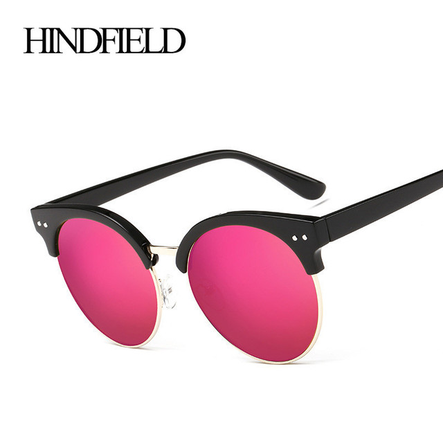8a6d550cf1 HINDFIELD 2017 Fashion Luxury Cat Eye Sunglasses Women Brand Designer  Vintage Coating Reflective Half Frame Sun