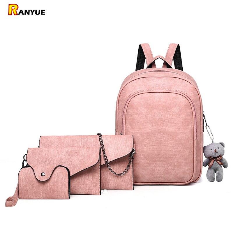 все цены на 4Pcs/Set Pink Small Backpacks Female School Bags For Teenage Girls PU Leather Women Backpack Shoulder Bag Purse Mochila Black онлайн