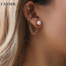 Canner Tassel Earrings Chain Imitation Pearl For Women Girl Ear Cuff Clip Female Jewelry 2019 W4