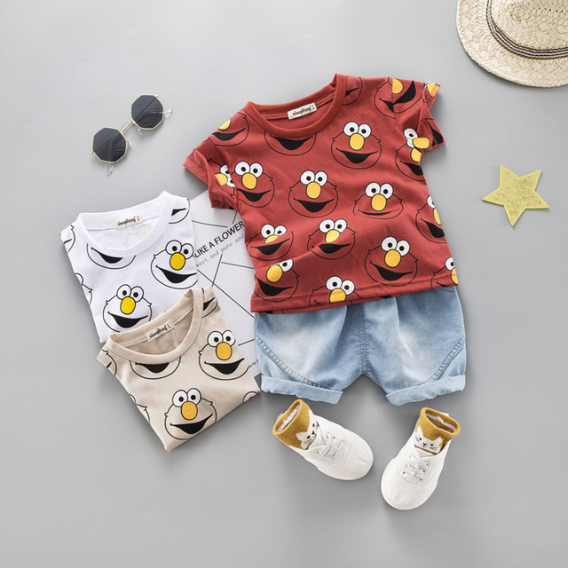 Baby Boy Clothing Set Cute Summer T-Shirt Cartoon Children Boys Clothes Shorts Suit for Kids Outfit Denim Outfit 2