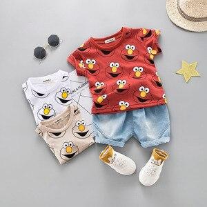 Image 2 - Set di abbigliamento per neonato T Shirt estiva carina cartone animato bambini ragazzi capispalla pantaloncini abito per bambini Outfit Denim Outfit 1 2 3 4 anni