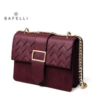 BAFELLI Frosted Suede Cowhide Bag Geometric Cover Bolsos Mujer Split Leather Hasp Crossbody Bag Burgundy Women