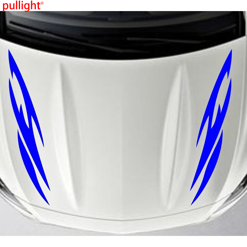 1Pair Car Racing Stripe Sport Hood Decals Vinyl Bonnet Decor sticker hilux racing side stripe graphic vinyl sticker for toyota hilux decals
