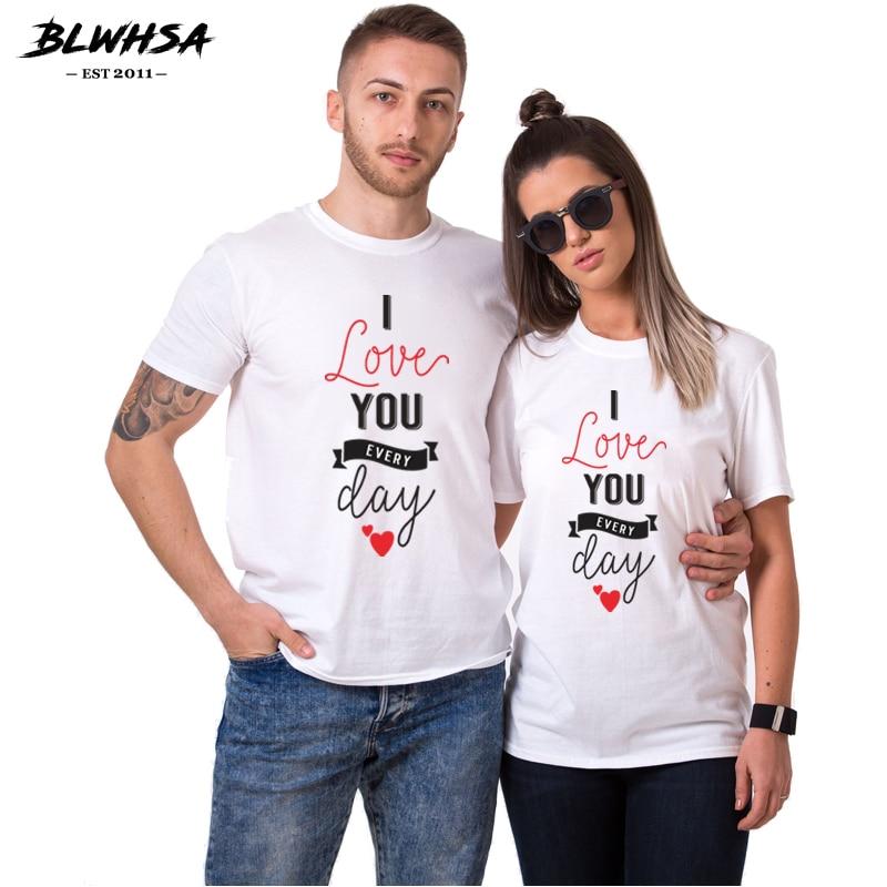 BLWHSA 100% הדפסת כותנה מזדמן נשים חולצה זוג אוהב אותך אי פעם יום אופנה גברים חולצה זוג עבור חובבי חולצות טי