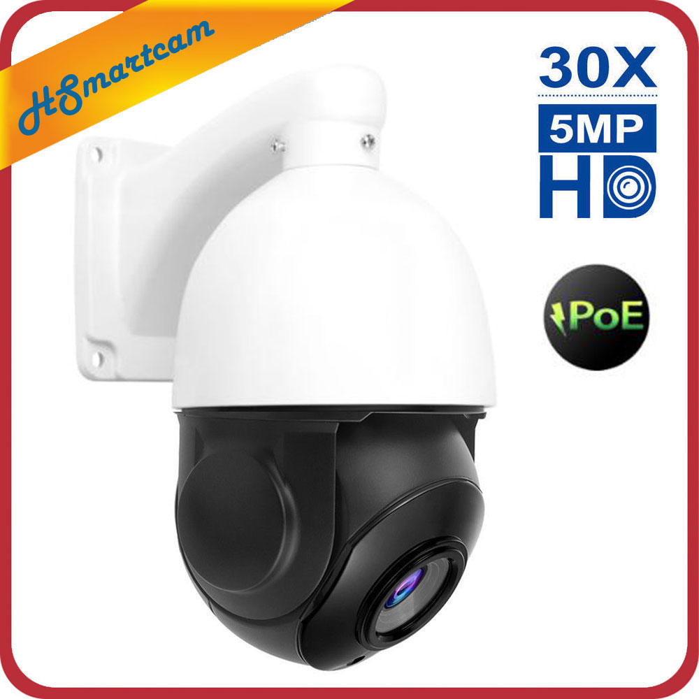 POE PTZ IP Camera 5MP Super HD 2592x1944 Pan Tilt 30x Zoom Speed Dome Cameras H