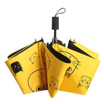 Mężczyzna Parasol kobieta składany Parasol kreskówka osobowość czarna powłoka anty-uv kobieta Parasol słoneczny dla chłopców sprzęt przeciwdeszczowy Parapluie tanie i dobre opinie YONGLING Umbrella 190T Nylon Fabric Nie-automatyczny parasol Składane DHYS003 Dorosłych Parasole Three-folding Umbrella