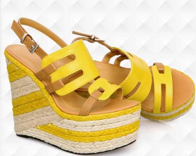 d552df3aeb4 US $62.0 |2017 Summer hot selling platform sandal mixed colors rope braided  wedge sandal cutouts open toe gladiator sandal yellow blue -in Women's ...