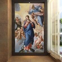 купить Large mural wall paper TV sofa living room bedroom background wall religious theme angel virgin baby oil painting дешево