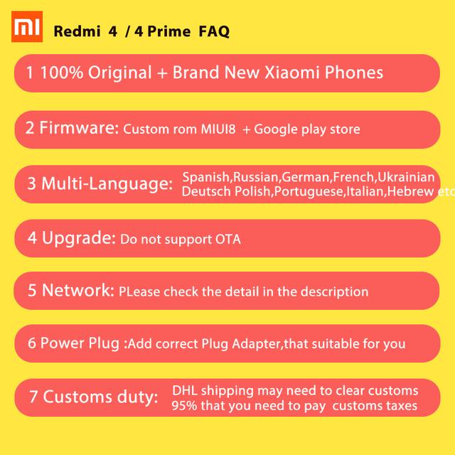Original Xiaomi Redmi 4 Mobile Phone 2GB RAM 16GB ROM  Snapdragon 430 Octa Core CPU 5 inch 13.0mp Fingerprint  MIUI 8