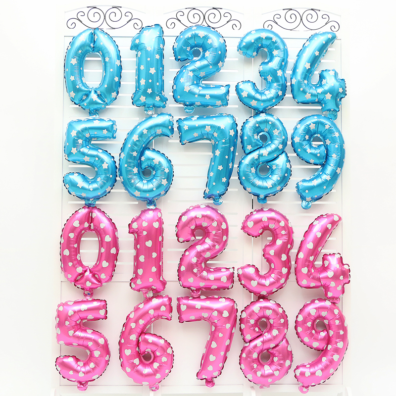 1pc 16inch Pink&Blue Number 0-9 foil balloons digital helium baloes New year Birthday party decorations kids Wedding gifts toys