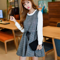 DoreenBow New Plaid Wool Cotton Mini Dress Women Fahion Autumn Winter Long Sleeve Fake Two Pieces