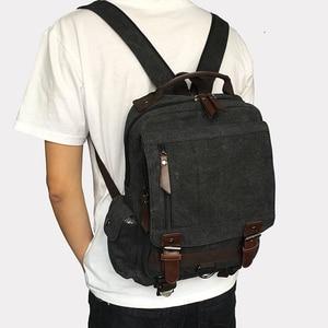 Image 5 - Scione Small Canvas Backpack Men Travel Back Pack Multifunctional Shoulder Bag Women Laptop Rucksack School Bags Female Daypack