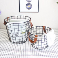 Metal Black Storage Basket Scandinavian Iron Hand Made Desk Laundry Storage Organizer Decor Cloth Toys Basket for Home