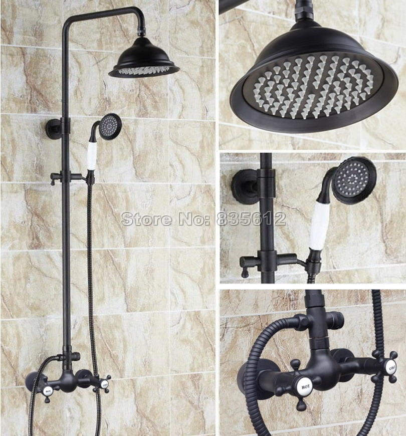Black Oil Rubbed Bronze Rain Shower Faucet Set W/ Ceramic Hand Spray &Bathroom Wall Mounted Dual Cross Handles Mixer Taps Wrs491