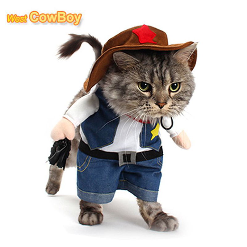 Funny Pet Costume Cat Dog Cowboy Cosplay Suit Halloween Christmas Uniform Clothes Puppy Hat Suit Dressing Up Party Clothing