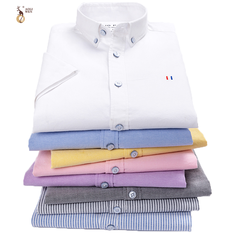 Aoliwen Oxford Textile short sleeve Solid color stripe Flannel men shirt 100%cotton high quality brand casual