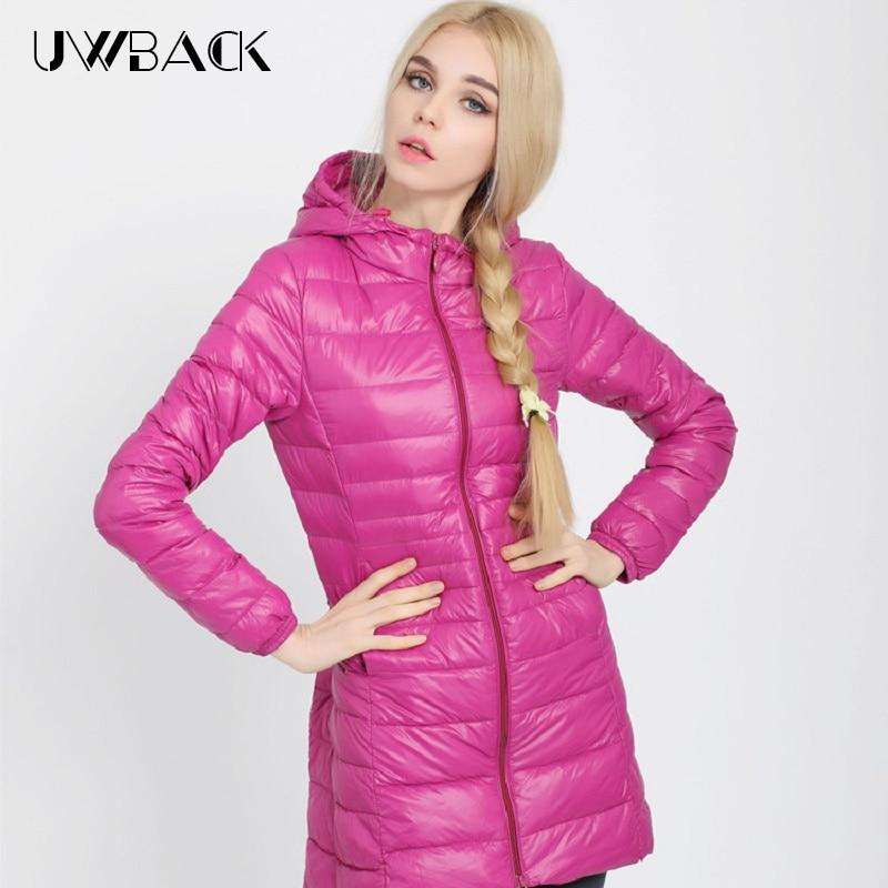 Uwback 2016 nouveau hiver vestes femmes grande taille 3XL Outweaer manteau en duvet Mujer Slim noir Ultra léger duvet de canard vestes TB1194