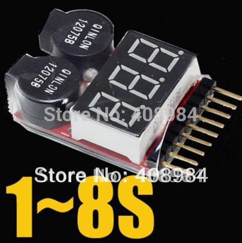 50pcs LED Battery Low Voltmeter Buzzer Alarm 2 in1 RC Lipo Low Voltage Meter Tester Indicator