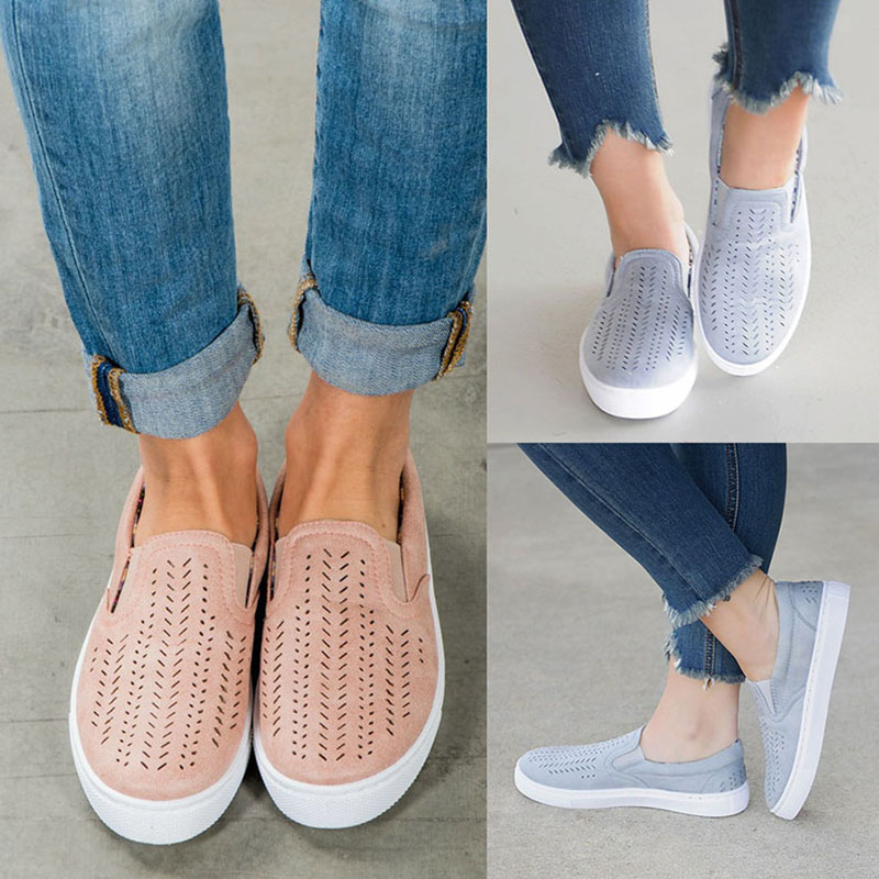 Women Cut-outs Vulcanized Shoes Loafers Female Flat Flock Elastic Band Slip-on 2018 Ladies Shallow Breathable Casual Plus Size mcckle women ruffle vulcanized shoes plus size autumn sneakers platform slip on loafers elastic band casual moccasins for ladies