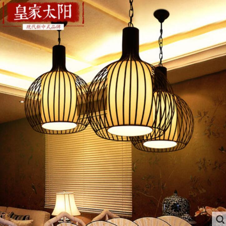 new chinese style birdcage chandelier contracted creative archaize hotel tea restaurant corridor balcony wrought iron - Birdcage Chandelier