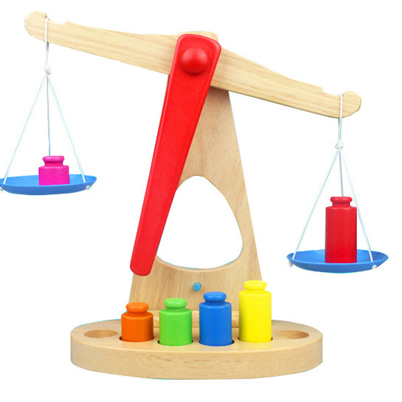 Kids Wooden Blocks Toys Balance Scale Weight Early Educational Toys Children Montessori Learning Blocks baby educational wooden toys for children building blocks wood 3 4 5 6 years kids montessori twenty six english letters animal