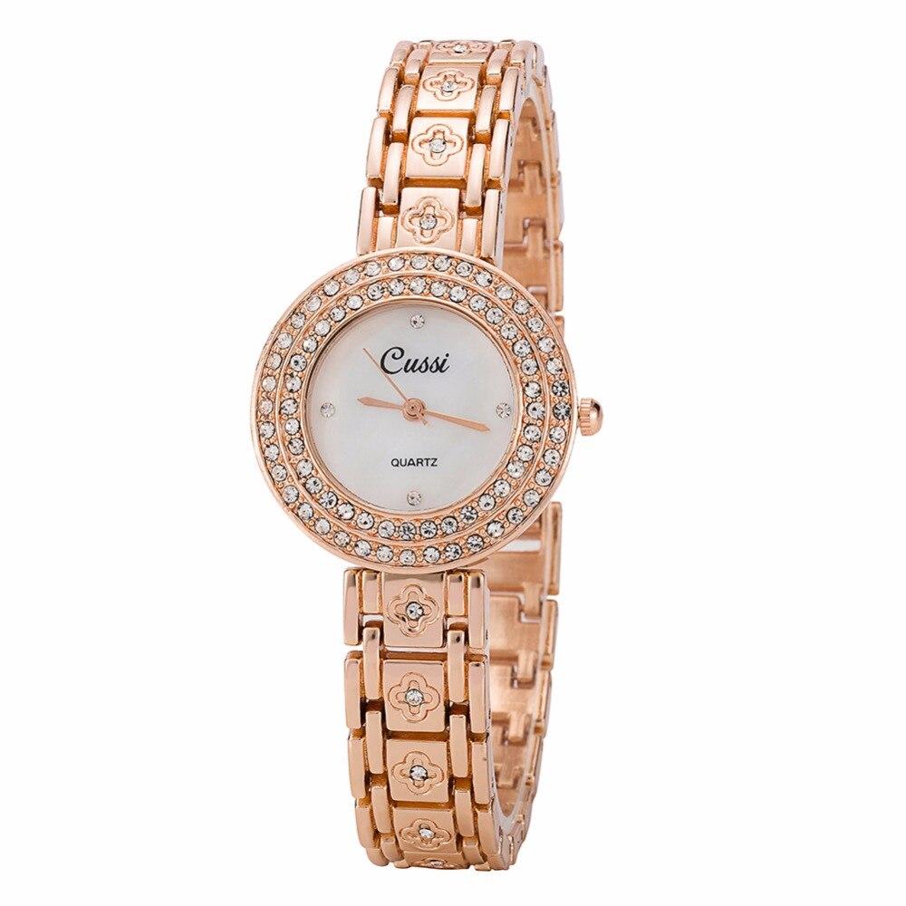 WA187 CUSSI Women Bracelet Watches Flower Luxury Rhinestone Ladies Dress Watches Quartz Wristwatches relogio feminino