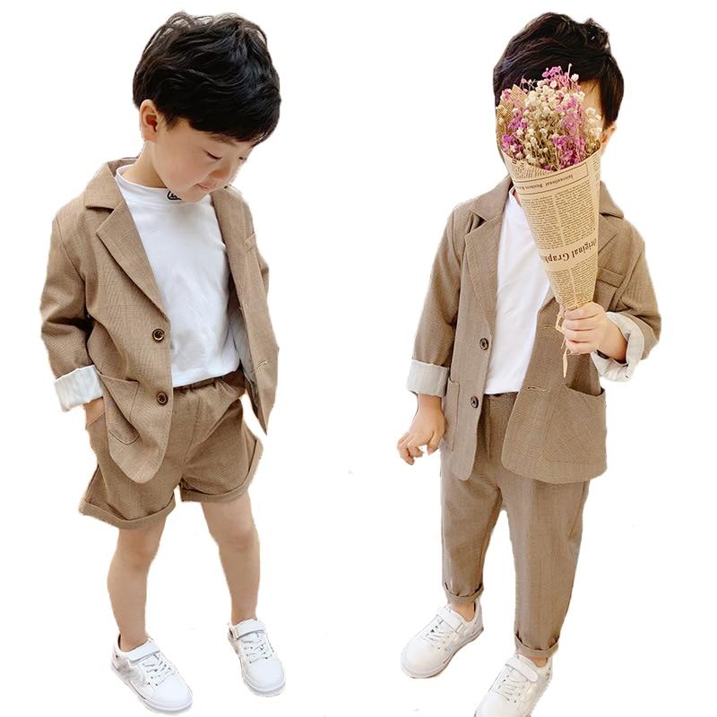 Children Casual Suit Set 2019 New Korean Boys Girls  Blazer Pants 2pcs Outfits Kids Party School Performance Clothing Sets