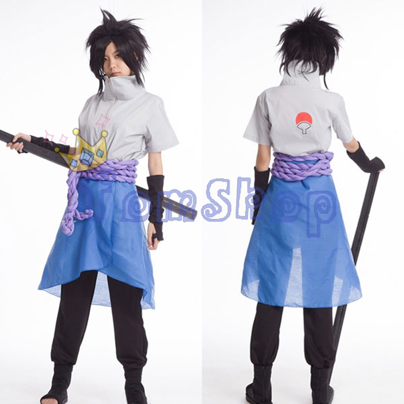Anime Naruto Uchiha Sasuke 4th Gen. Cosplay Uniform Suits Full Set Men's Halloween Costumes Free Shipping