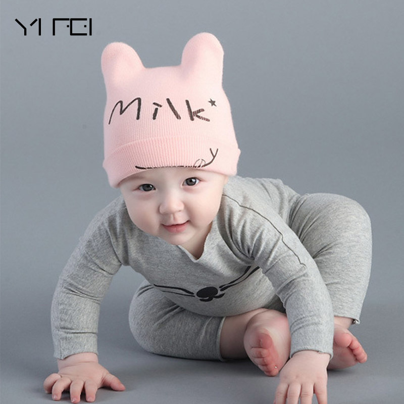 YIFEI 2017 Autumn Winter New Baby Boy Girl Beanie  MILK Pullover Keep Warm Knitting Hat Baby Cotton Children Hats As A Gifts gift children knitting wool hat cute keep warm rabbit beanie cap autumn and winter hat with earflaps whcn