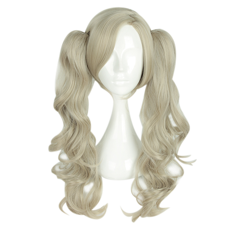 Mcoser 55CM Medium Curly Synthetic Hair With Two Ponytails 100% High Temperature Fiber Free Shipping WIG-661F