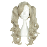 Mcoser 55CM Medium Curly Synthetic hair With Two Ponytails 100% High Temperature Fiber Free Shipping WIG 661F