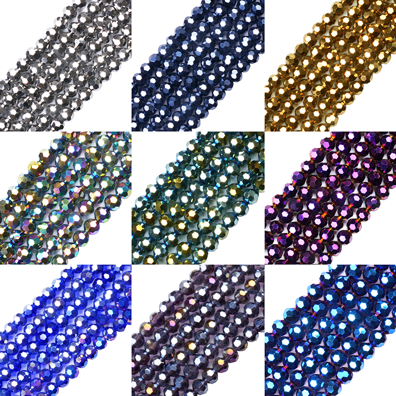 Austrian Crystal Beads Ball Bracele Jewelry Making Sphere-Shape Faceted Round Loose 6MM